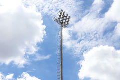 Spotlight Tower. Soccer sportlight tower against the blue sky Royalty Free Stock Images
