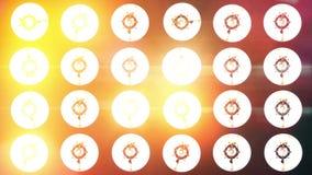 Spotlight turns on and off. Bright orange floodlights flashlights turning on and off stock footage