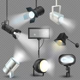 Spotlight vector light show studio with spot lamps on theater stage illustration set of projector lights photographing. Movie equipment isolated on transparent stock illustration