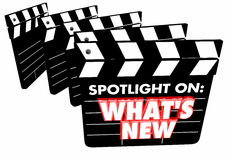 Spotlight on What`s New Update News Announcement Movie Clapper Royalty Free Stock Photos
