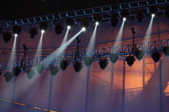 Spotlightings over stage. Stage spotlights shooting down towards a stage Royalty Free Stock Photos
