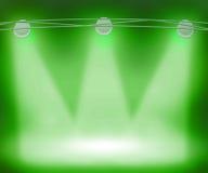 Зеленый цвет Spotlights предпосылка Стоковая Фотография