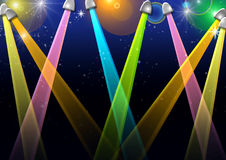 Spotlights. A dazzling background made up of colorful spotlights Stock Photos