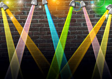 Spotlights. A dazzling background made up of colorful spotlights Stock Images