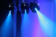 Spotlights. Atmospheric view of theatrical spotlights Stock Photography