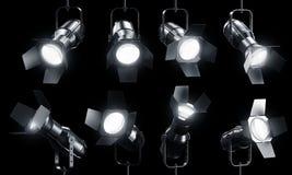 Spotlights on black Stock Photography