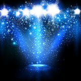 Spotlights with Blue rays Stock Photography