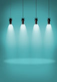 Spotlights blue wall Royalty Free Stock Photos