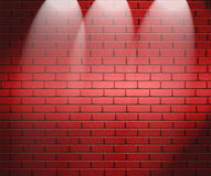Spotlights On Brick Wall Royalty Free Stock Images