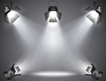 Spotlights with bright lights on transparent background. Stock Images