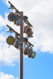 Spotlights. Colored outdoor spotlights used to illuminate a sculpture garden Stock Photo