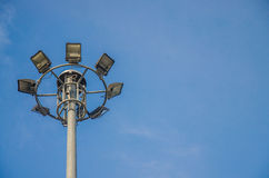 Spotlights electric poles with blue sky background Stock Photography