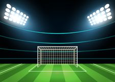 Spotlights and Football Field Card Background. Vector Stock Photography