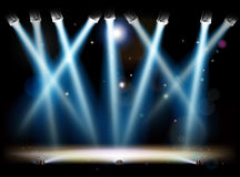 Spotlights and Footlights Stage. A theatre or theater stage and with footlights and spotlights Royalty Free Stock Images