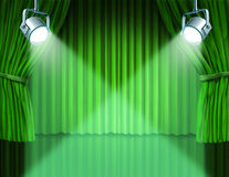 Spotlights on green velvet cinema curtains. Theater stage with spotlights on green velvet cinema curtain and drapes representing the entertainment communications Royalty Free Stock Photo