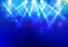 Spotlights lighting disco party stage with blured bokeh on blue royalty free illustration