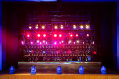 Spotlights & lighting equipment for the theater. Multi-colored lights.  stock images