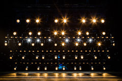Spotlights & lighting equipment for the theater. Yellow light royalty free stock photos