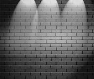 Spotlights On Brick Wall Royalty Free Stock Photos