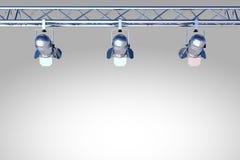 Spotlights On Grey Wall Stock Photo