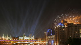 Spotlights over the Moscow Kremlin and the fireworks. Victory Day, 2015. stock video