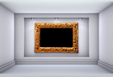 Spotlights and picture frame for exhibit Royalty Free Stock Images