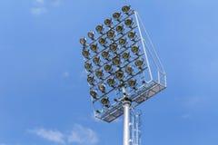 spotlights pillar on blue sky background Royalty Free Stock Images