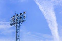 Spotlights pillar in stadium Royalty Free Stock Images