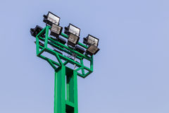 Spotlights pole in stadium Royalty Free Stock Photos