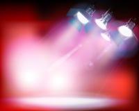 Spotlights on red background. Vector illustration. Stock Image