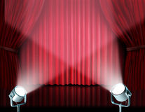 Spotlights on red velvet cinema curtains Stock Photo
