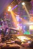 Spotlights shines at dj turntable Stock Photography