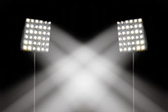 Spotlights in the stadium. /Focus selection Stock Photos