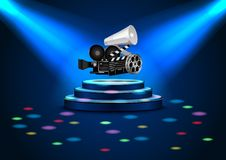 Spotlights on stage with blue light and color rainbow Royalty Free Stock Photography