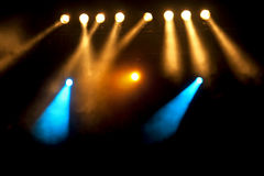 Spotlights at the Stage or Concert Stock Images