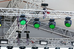 Spotlights on stage before concert Stock Images