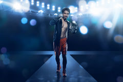 Spotlights stage illuminate asian boxer male Royalty Free Stock Photography
