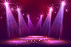 Spotlights on stage with smoke light Royalty Free Stock Photography