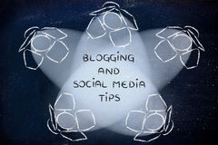 Spotlights with text Blogging and Social Media Tips Stock Images