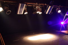 Spotlights in theatre. Colorful spotlights shining through darkness over stage in theatre stock photo
