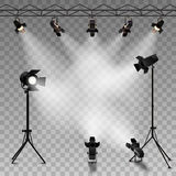 Spotlights Transparent Background Stock Photography