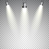 Spotlights on transparent background. Realistic vector Stock Photo