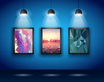 Spotlights Wall with Low Poly Arts Royalty Free Stock Photo