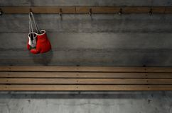 Boxing Gloves Hanging In Change Room Royalty Free Stock Images