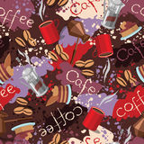 Spots background with scattering of coffee beans and lettering. Seamless colorful pattern. Royalty Free Stock Images