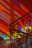 Spots of colored light on the stairs. stock photos