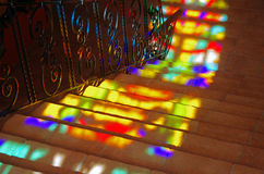 Spots of colored light on the stairs. Royalty Free Stock Photo