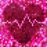 Spots den rosa mosaiken för rundan hjärta med puls Arkivfoton