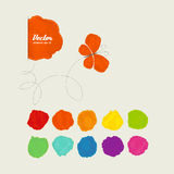 Spots of paint and a butterfly. Set of elements for design. A vector Royalty Free Stock Images