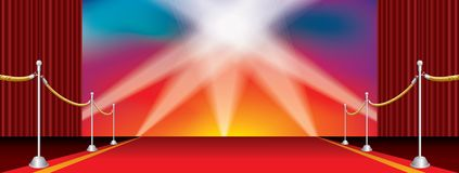 Spots on rainbow carpet. Vector opened wide stage with red carpet and five spotlights on rainbow colors background Stock Photography